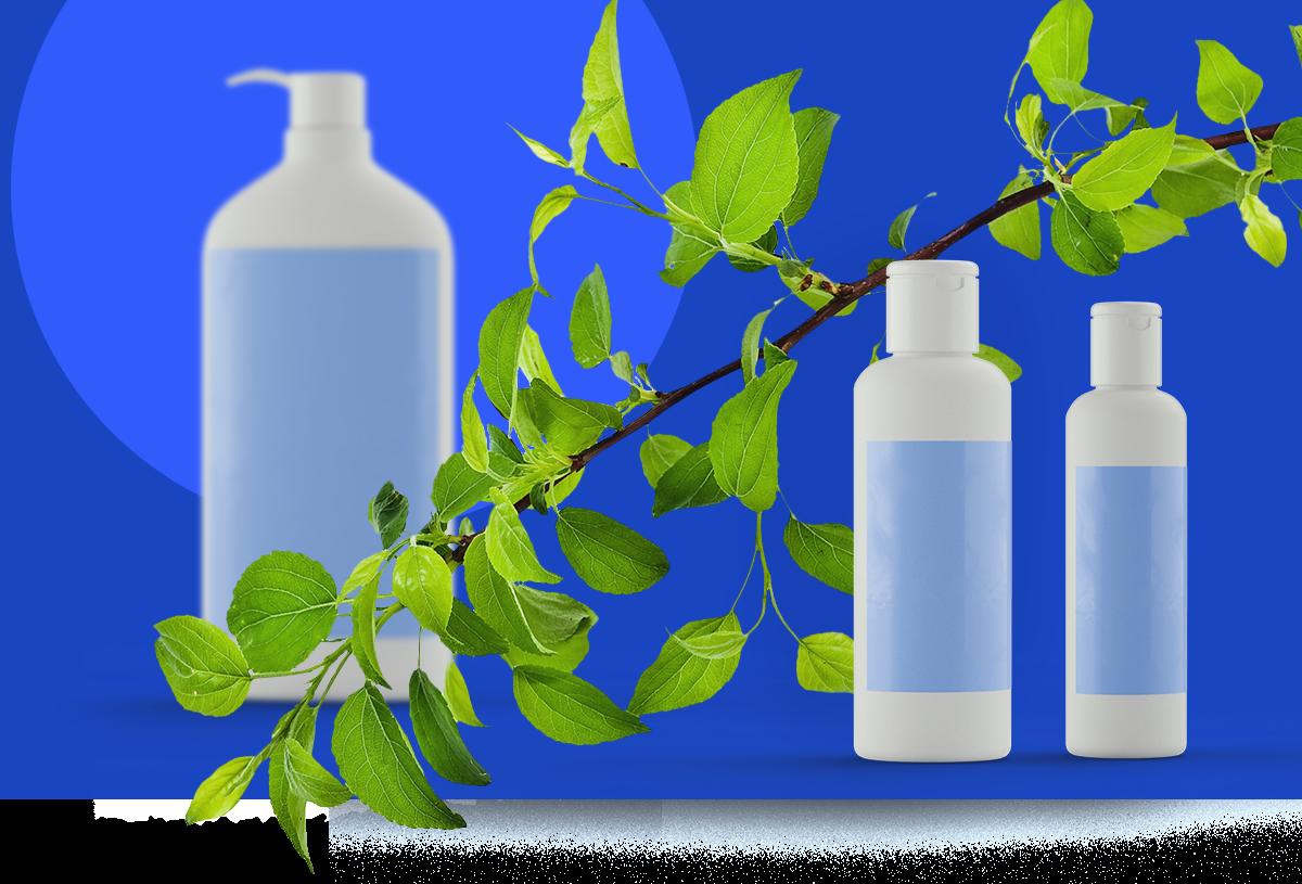 Produktpräsentation von drei Flaschenmodellen mit Haft-Etiketten vor blauem Hintergrund und einem Blätterzweig als Deko